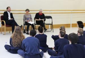 Kevin O'Hare talkes to students, with choreography teachers Kate Flatt and Jennifer Jackson.