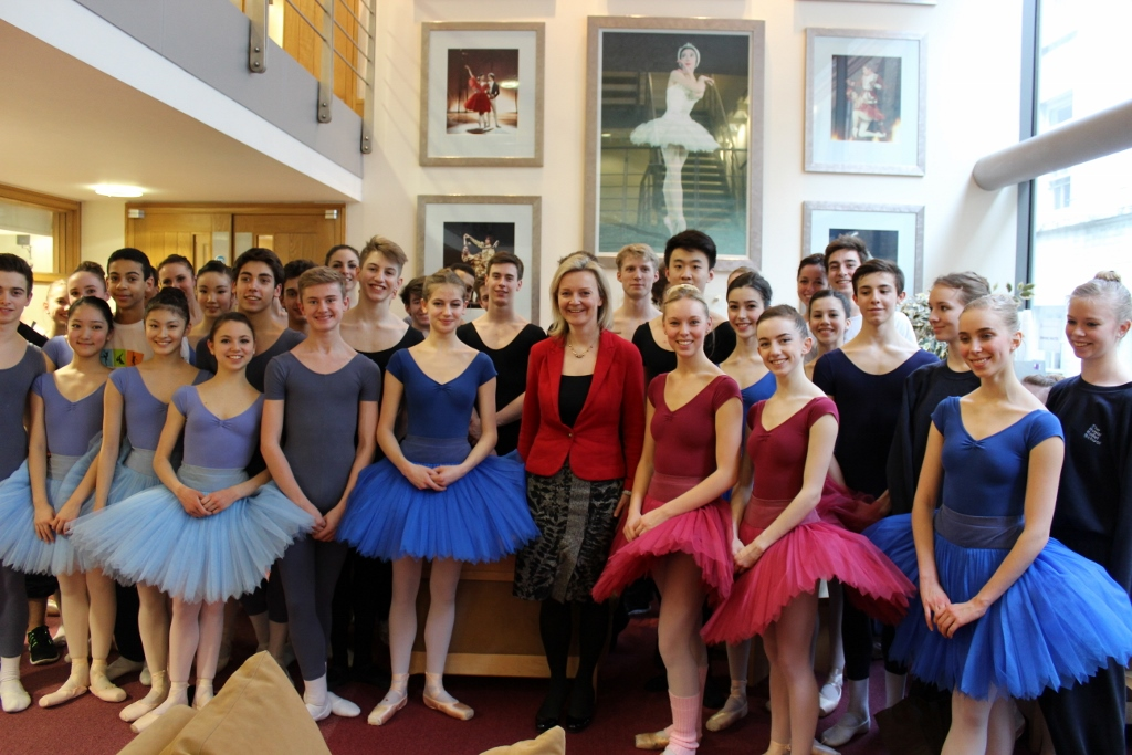 Elizabeth Truss MP with students of the Upper School