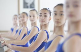 Girls stood at the barre in White Lodge Studio
